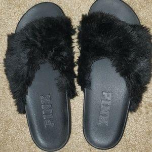 Black Furry Slides PINK Victoria's Secret